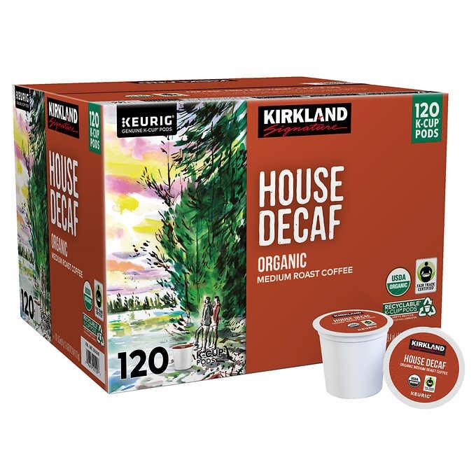CÀ PHÊ RANG VỪA ĐÃ KHỬ CAFFEIN HỮU CƠ DẠNG CỐC KIRKLAND SIGNATURE COFFEE ORGANIC HOUSE DECAF K-CUP POD