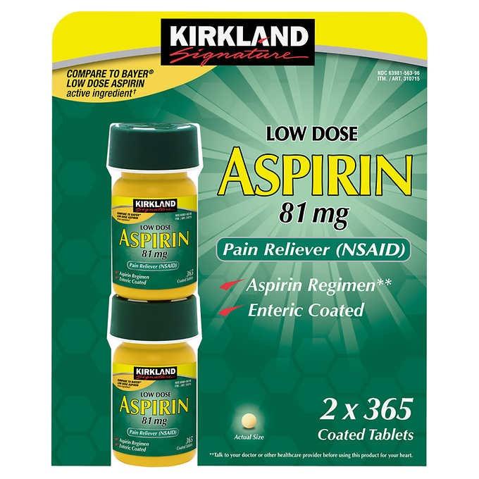 THUỐC GIẢM ĐAU KIRKLAND SIGNATURE LOW DOSE ASPIRIN 81 MG
