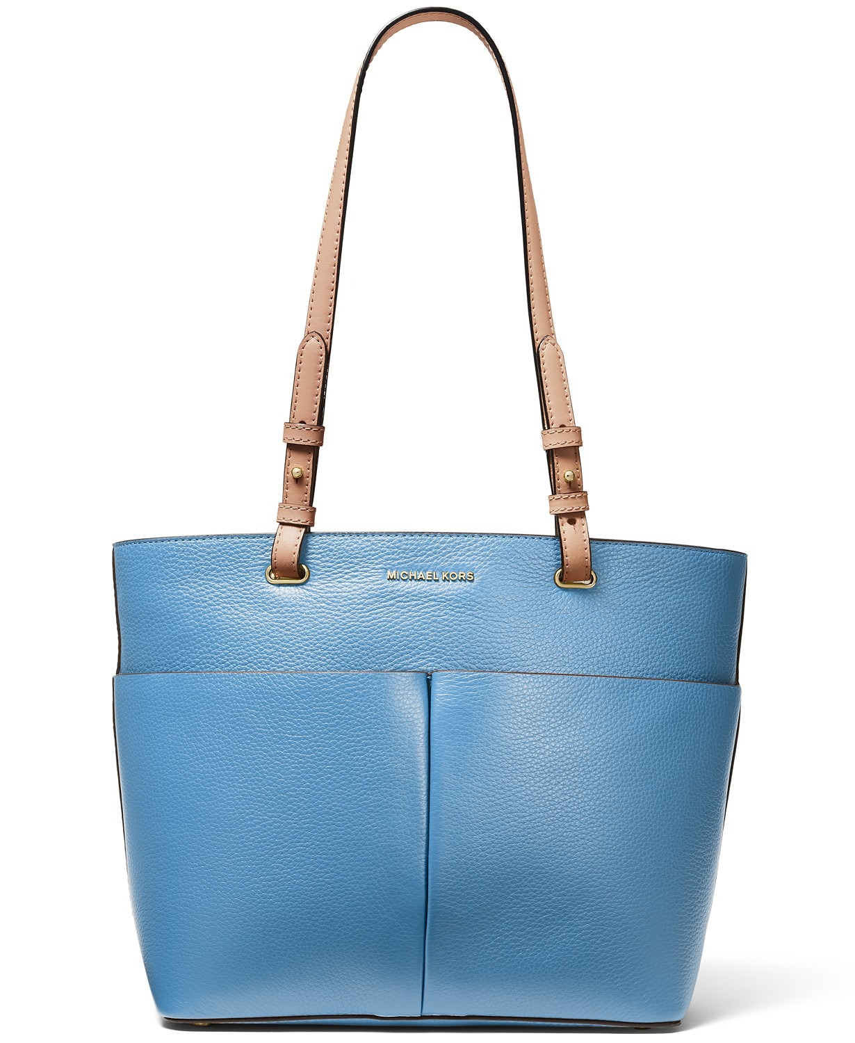 TÚI XÁCH MICHAEL KORS BEDFORD PEBBLE LEATHER POCKET TOTE, SOUTH PACIFIC / GOLD