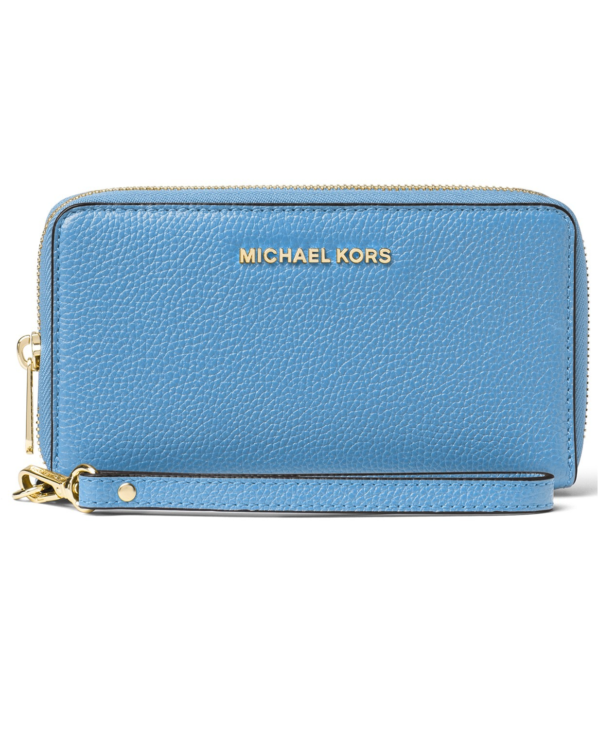 VÍ CẦM TAY MICHAEL KORS MERCER LEATHER MULTI FUNCTION PHONE WRISTLET, SOUTH PACIFIC / GOLD