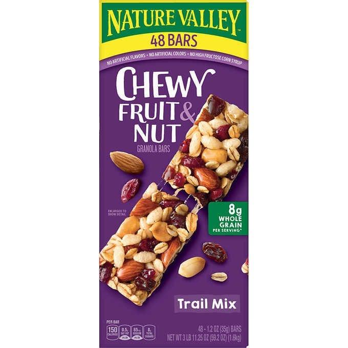 BÁNH YẾN MẠCH MIX TRÁI CÂY & ĐẬU PHỘNG SẤY KHÔ NATURE VALLEY FRUIT & NUT CHEWY GRANOLA BAR, TRAIL MIX