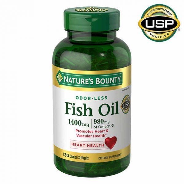 VIÊN UỐNG DẦU CÁ HỖ TRỢ TIM MẠCH NATURE'S BOUNTY FISH OIL 1400 MG