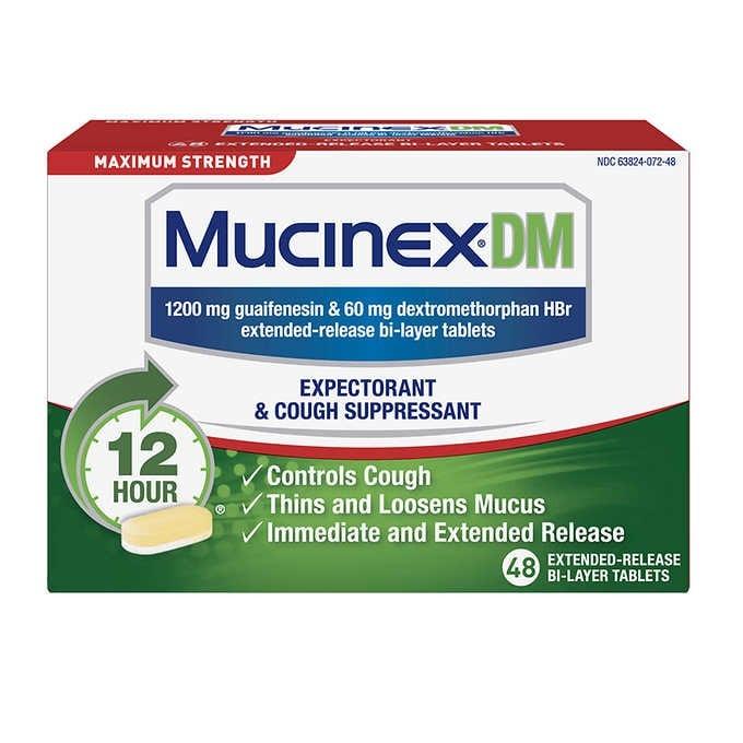 THUỐC UỐNG GIẢM HO LONG ĐỜM TỐI ĐA SUỐT 12 GIỜ MUCINEX DM MAXIMUM STRENGTH