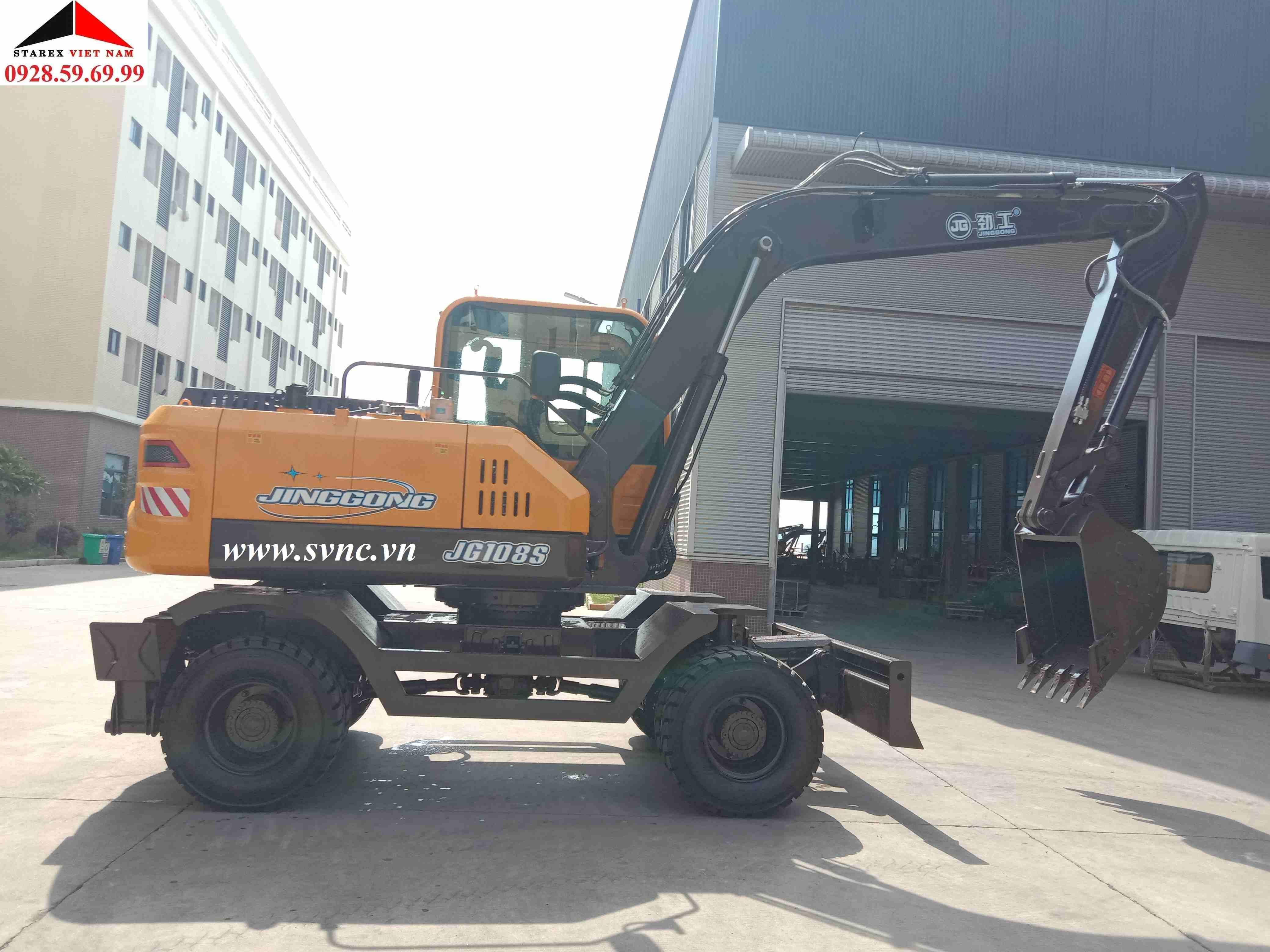 Máy xúc đào bánh lốp 04 JINGGONG JG108S