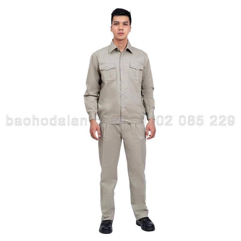 Quần áo bảo hộ DN10 kaki nam định màu ghi