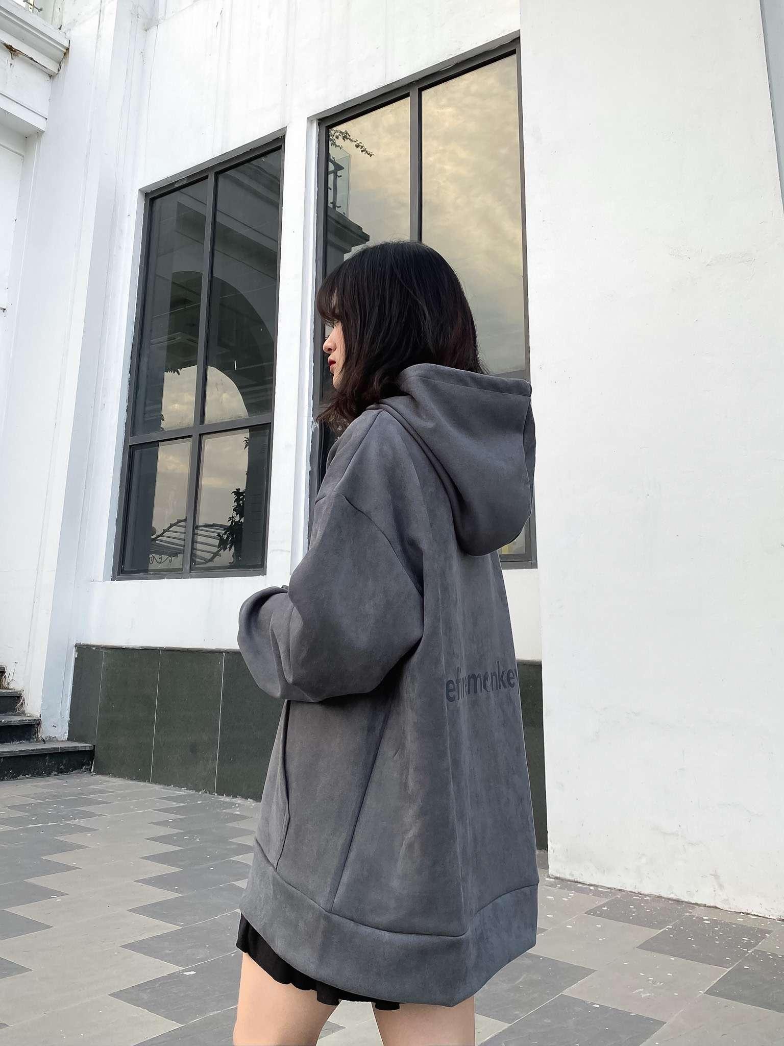 ÁO HOODIE DA LỘN / PHẢN QUANG - XÁM