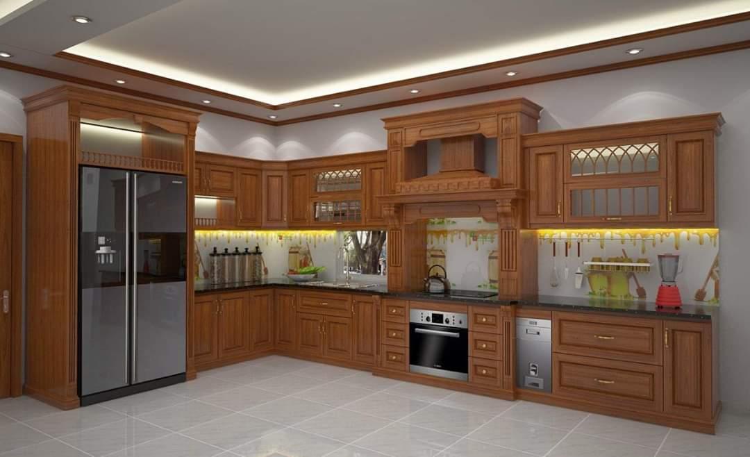 Tủ bếp gỗ Sồi Nga - PD02
