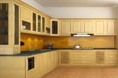 Tủ bếp gỗ Sồi Nga - PD03