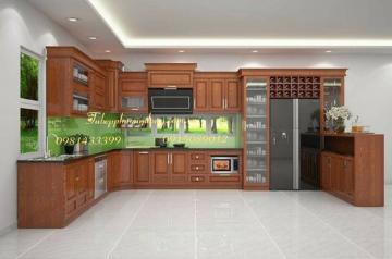 Tủ bếp gỗ Sồi Nga - PD48