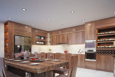 Tủ bếp gỗ Óc chó - PD13