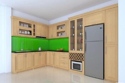 Tủ bếp gỗ Sồi Mỹ - PD13