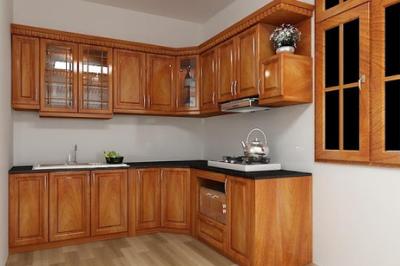 Tủ bếp gỗ Xoan đào - PD54