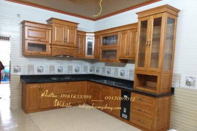 Tủ bếp gỗ Sồi Nga - PD09