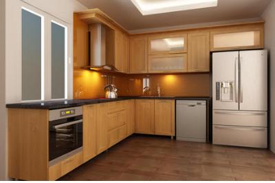 Tủ bếp gỗ Sồi Mỹ - PD15