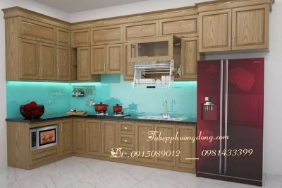 Tủ bếp gỗ Sồi Nga - PD15