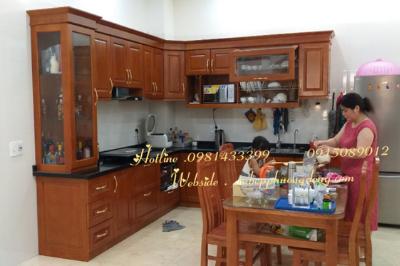 Tủ bếp gỗ Sồi Nga - PD01