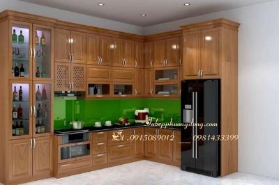 Tủ bếp gỗ Sồi Nga - PD18