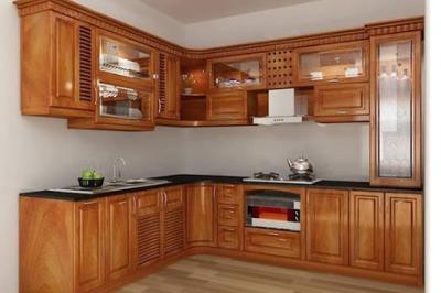 Tủ bếp gỗ Gõ đỏ - PD17