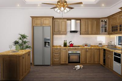Tủ bếp gỗ Sồi Mỹ - PD16