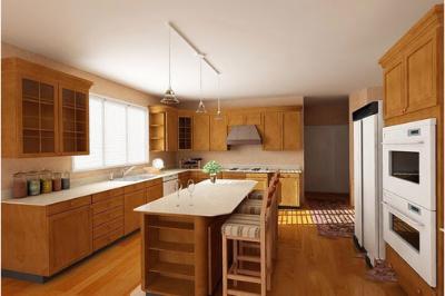 Tủ bếp gỗ Sồi Mỹ - PD17