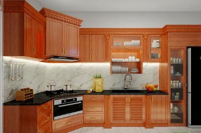 Tủ bếp gỗ Gõ đỏ - PD18