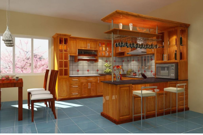 Tủ bếp gỗ Sồi Mỹ - PD18