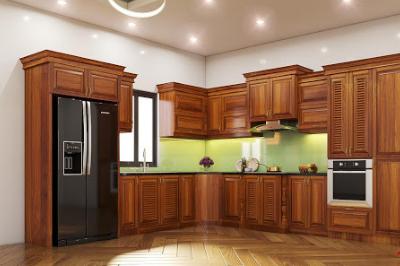 Tủ bếp gỗ Gõ đỏ - PD11