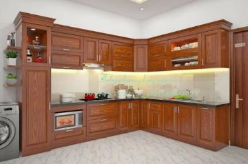 Tủ bếp gỗ Sồi Nga - PD46