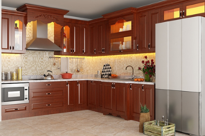 Tủ bếp gỗ Sồi Mỹ - PD19
