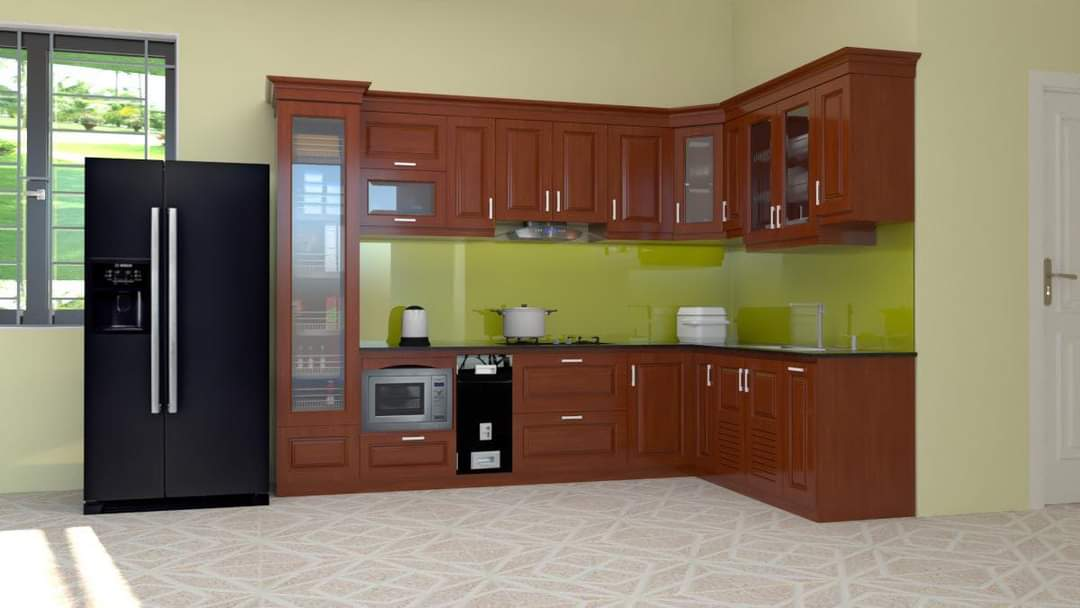 Tủ bếp gỗ Xoan đào - PD20