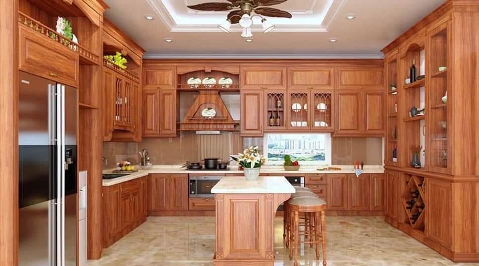 Tủ bếp gỗ Gõ đỏ - PD19