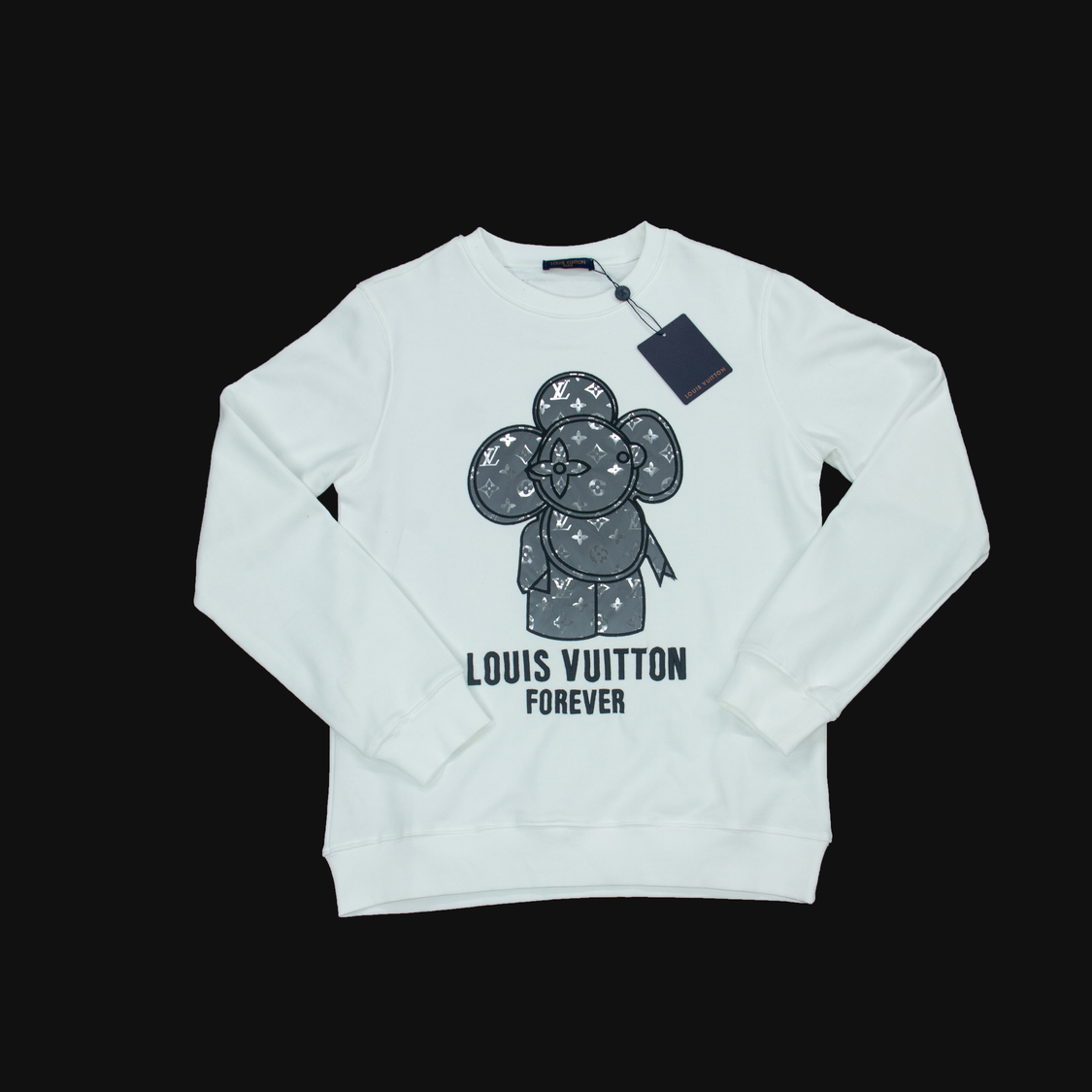 Áo nỉ Louis Vuitton forever hoa - trắng