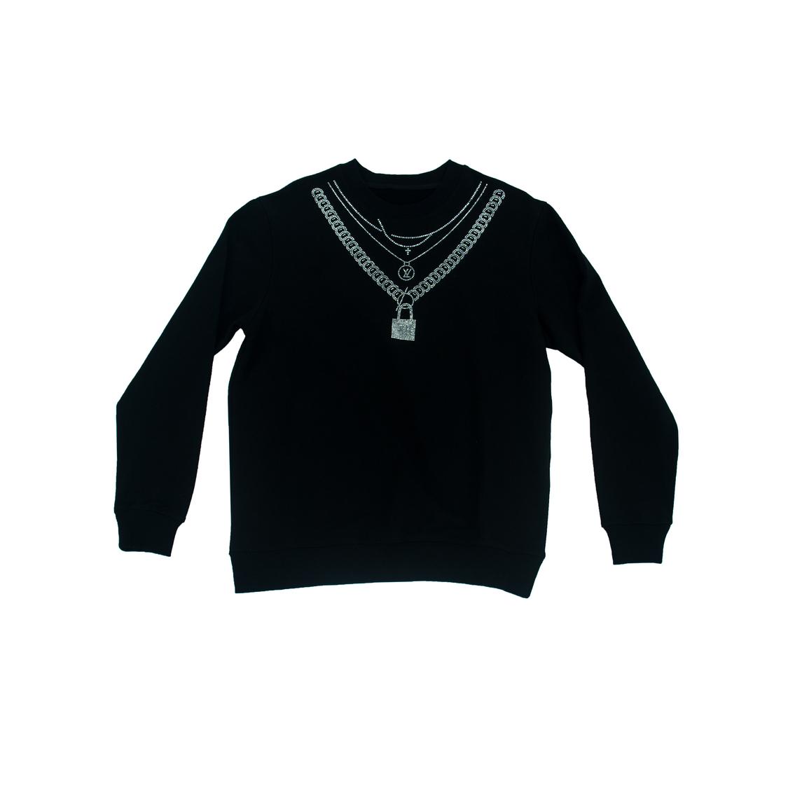Áo nỉ Louis Vuitton đá khóa - đen