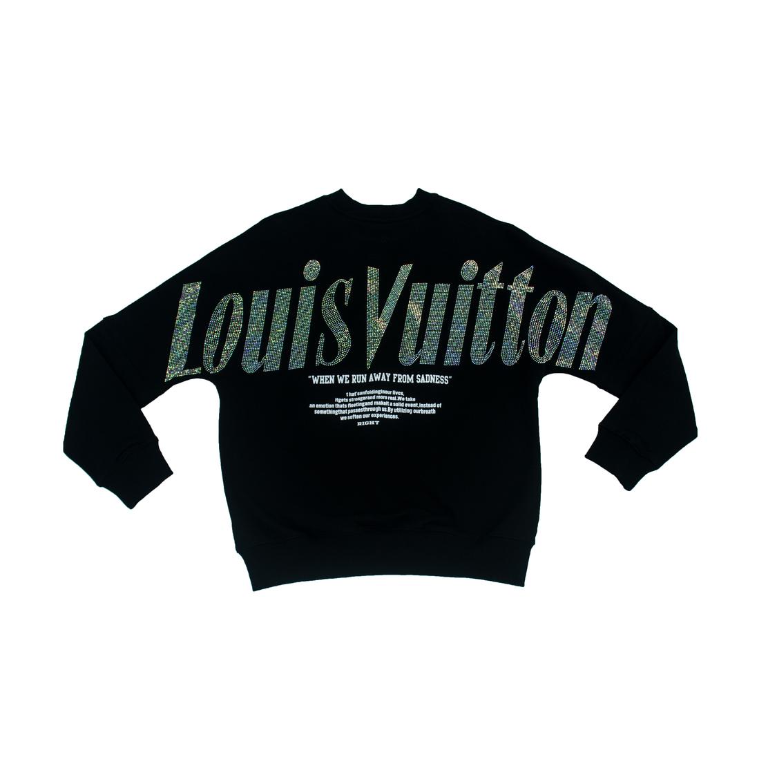 Áo nỉ Louis Vuitton chữ đá - đen