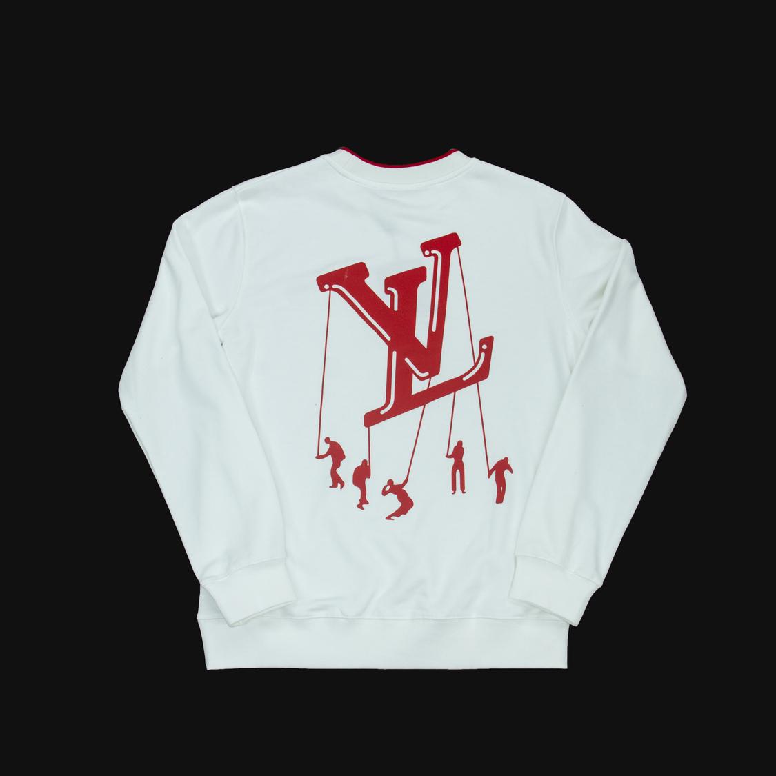 Áo nỉ Louis Vuitton chữ viền cổ đỏ - trắng