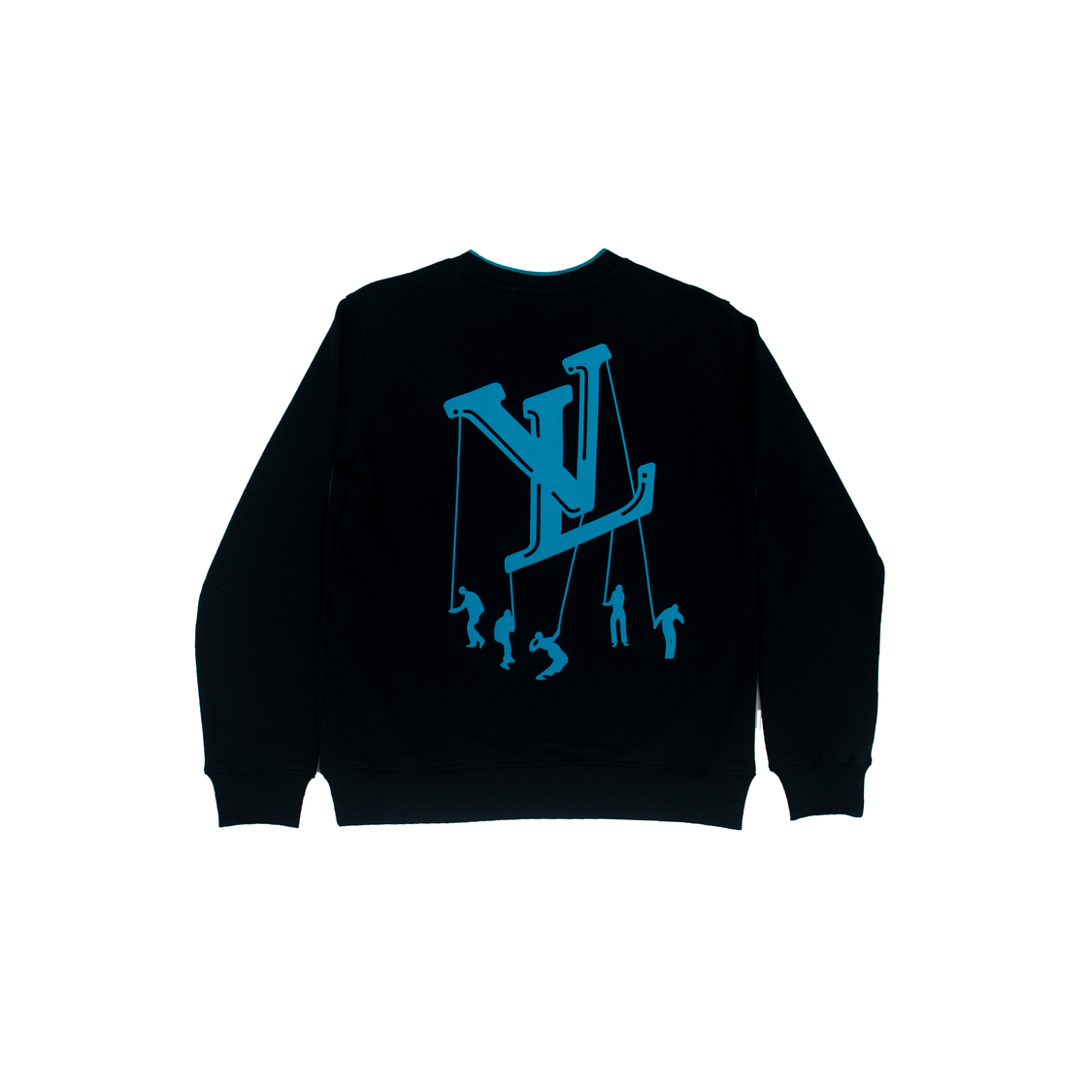 Áo nỉ Louis Vuitton chữ viền cổ xanh - đen