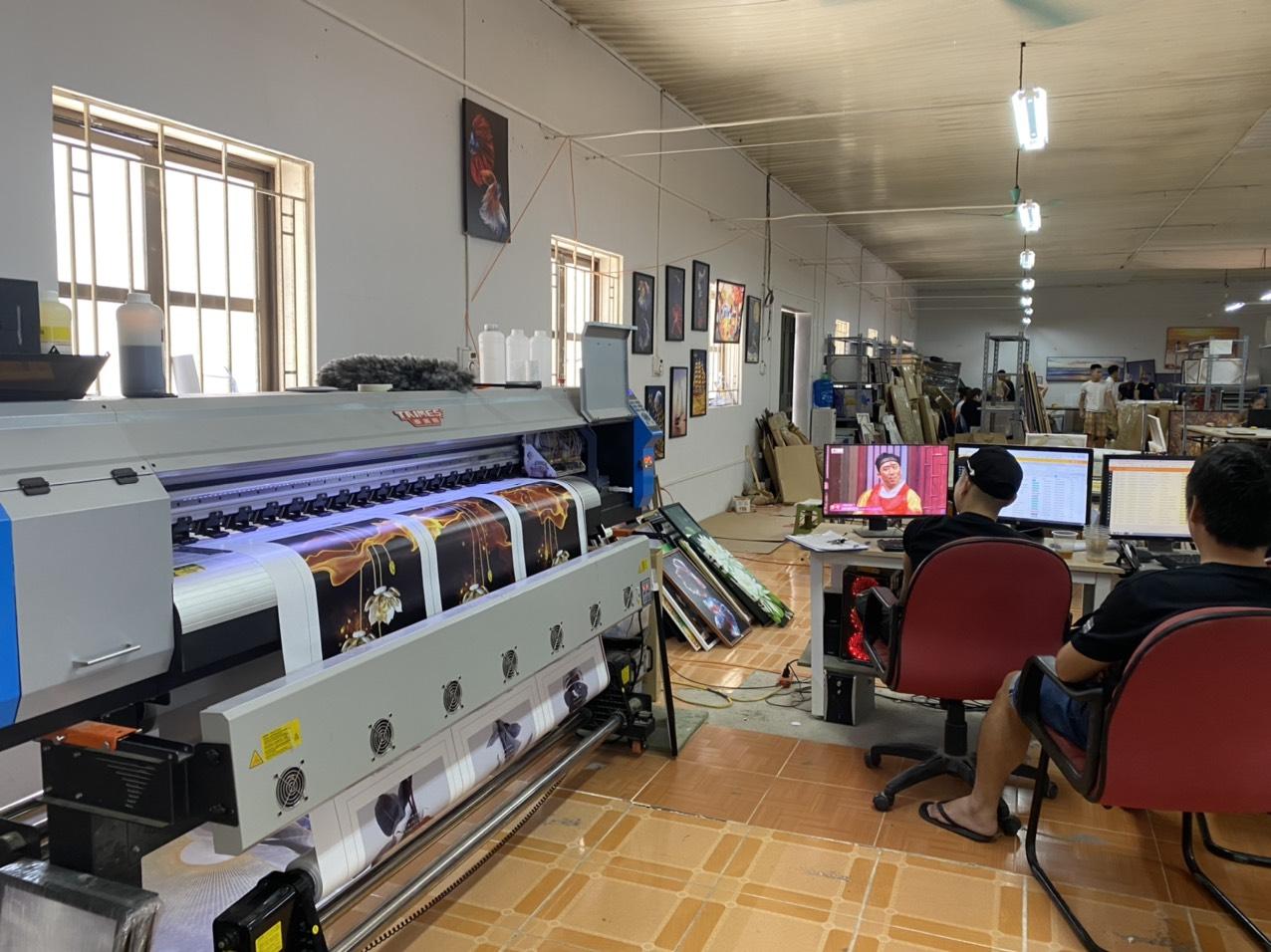 Lắp đặt máy Taimes T1601 cho xưởng in tranh canvas Aloha tại Lê Văn Thiêm - Thanh Xuân - Hà Nội