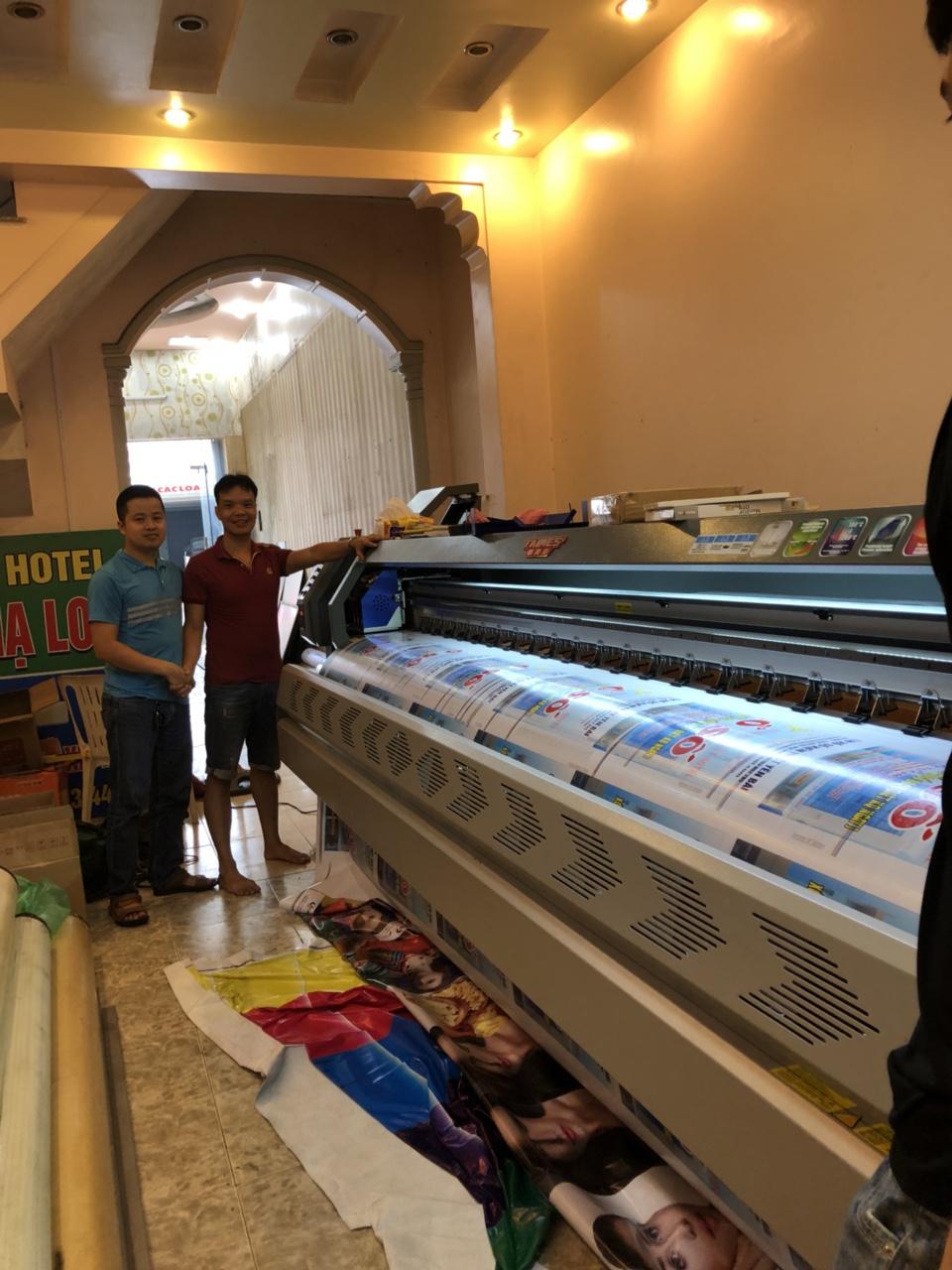 Lắp đặt và bàn giao công nghệ máy in bạt khổ lớn 3m2 cho quảng cáo Kỳ Anh tại Yên Ninh - TP Yên Bái - Yên Bái
