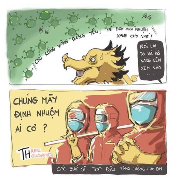 Báo Tuổi Trẻ có một hình anh tranh vẽ biếm họa về Cầu Rồng vượt dịch