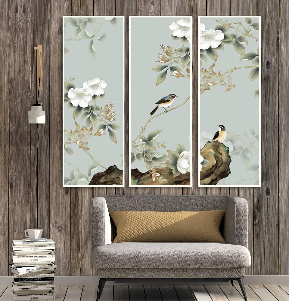 Bộ tranh chim son ca màu sắc hài hòa