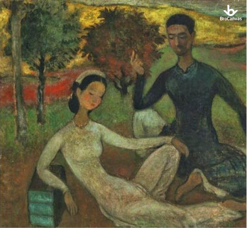 """Bức tranh """"Lover in A Landscape"""" của họa sĩ Vũ Cao Đàm cũng là một tác phẩm nổi tiếng"""