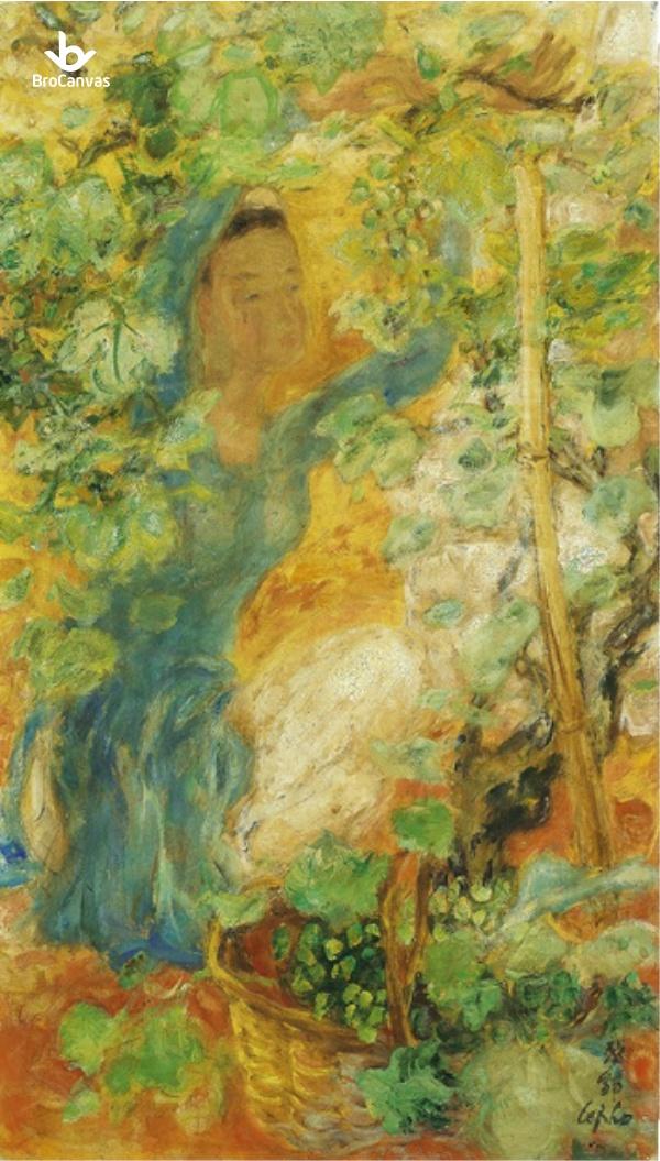 """Bức tranh """"Nho và rượu vang"""" cũng vô cùng nổi tiếng của họa sĩ Lê Phổ"""