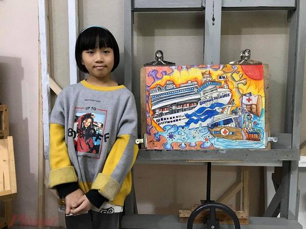Chân dung cô bé học sinh lớp 4 gây sốc cộng đồng với các bức tranh tuyên truyền phòng chống Covid-19