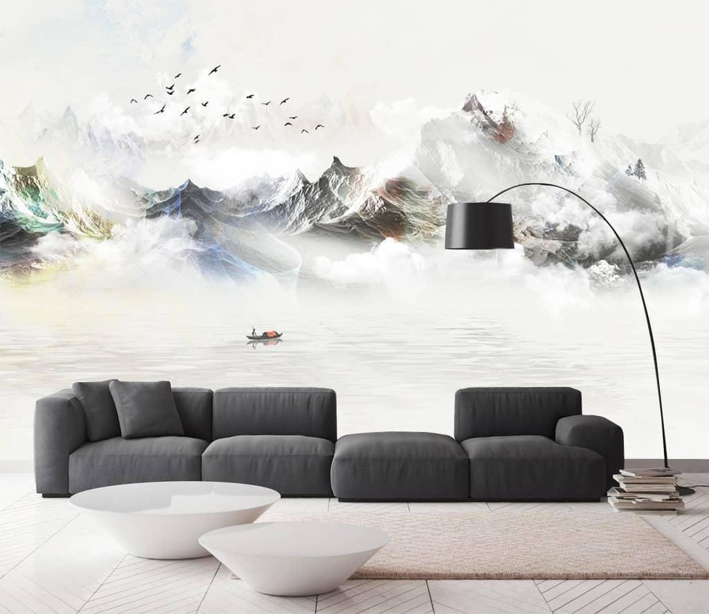 Tranh dán tường 3D tại phòng khách đẹp huyền bí