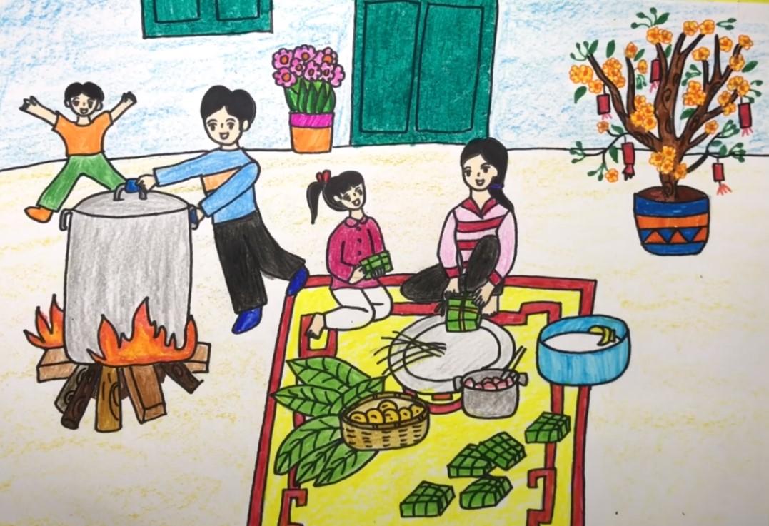 Gia đình quây quần ngồi gói bánh chưng Tết là chủ đề vẽ tranh đầy ý nghĩa