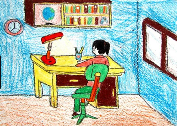 Tranh vẽ liên quan đến góc học tập của bé