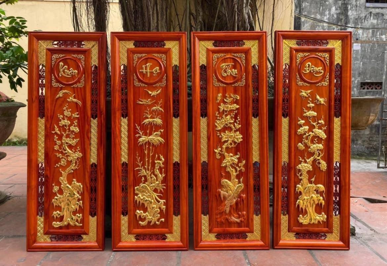 Tranh khắc gỗ Hoa tứ quý