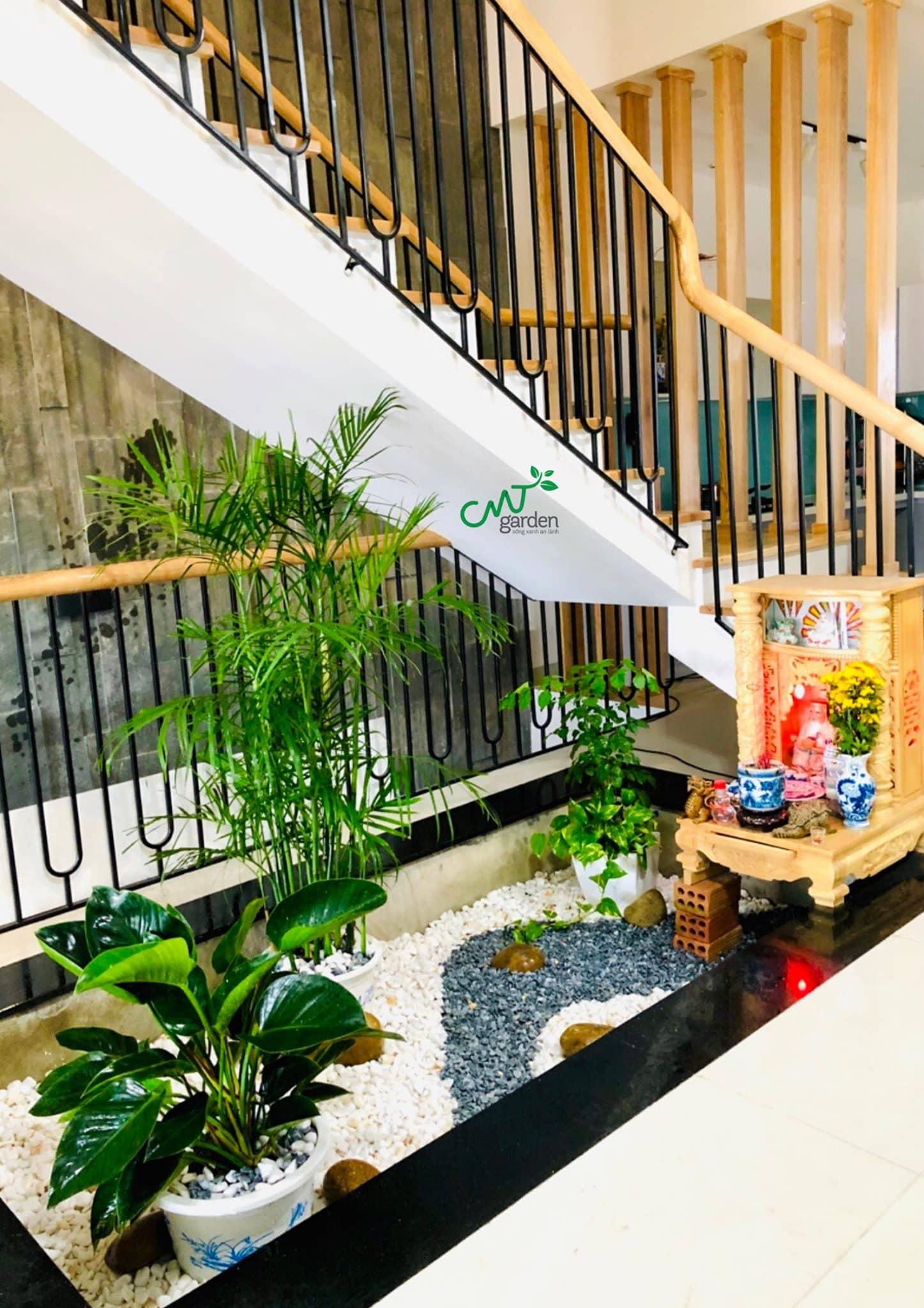 Phần cầu thang được thiết kế theo đúng phong cách Organic