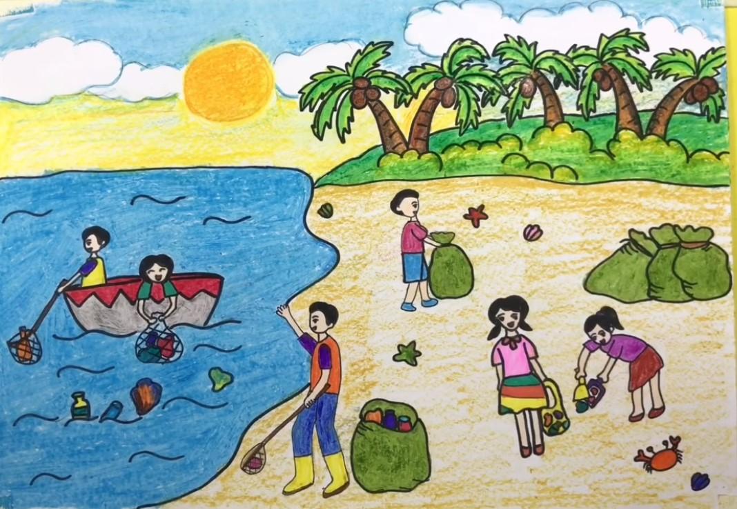 Bảo vệ môi trường nước và biển bẳng những bức tranh lan tỏa của các em nhỏ