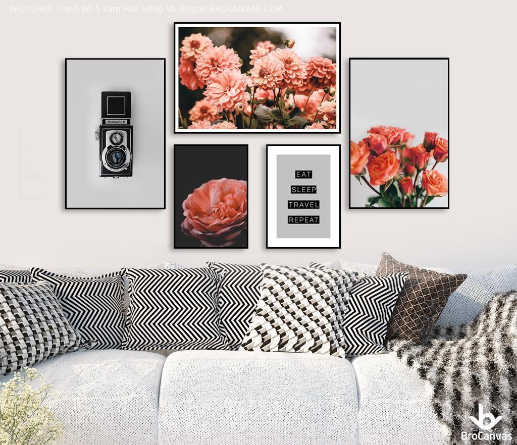Bộ Tranh decor 5  tấm hoa hồng